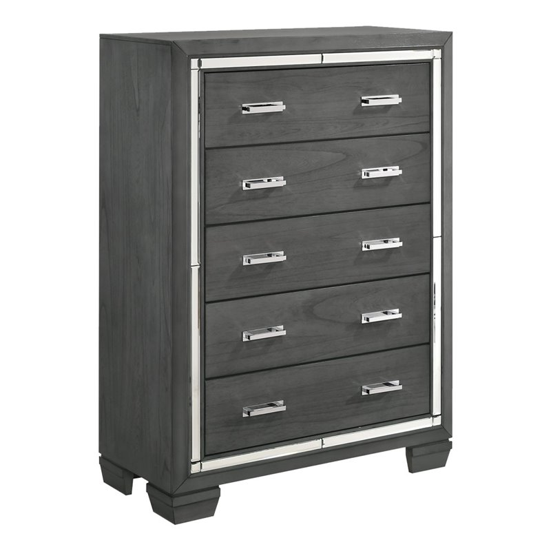 Picket House Furnishings Kenzie 5 Drawer Chest in Trendy Gray