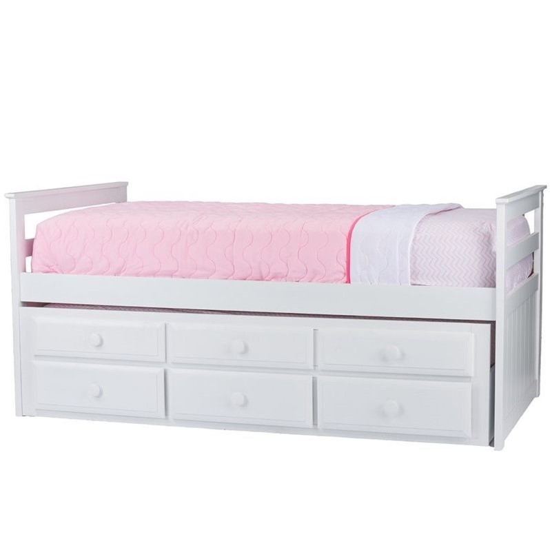 Ballina Wood Twin Captains Bed with Trundle in White