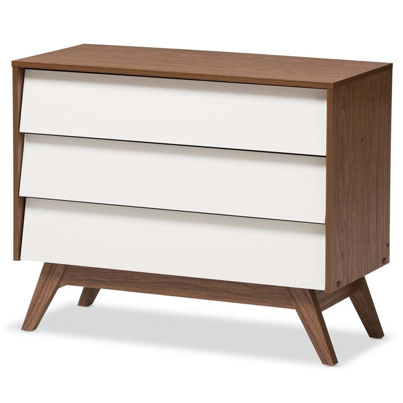 Baxton Studio Hildon 3 Drawer Chest in White and Walnut Brown