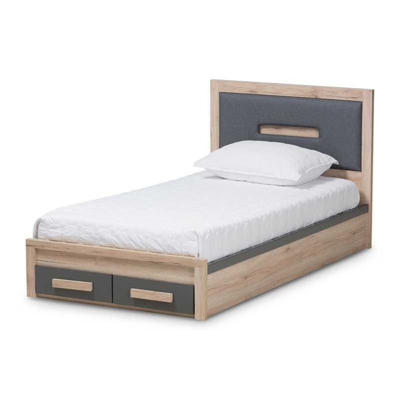 Baxton Studio Pandora Twin Storage Platform Bed in Gray and Oak Brown