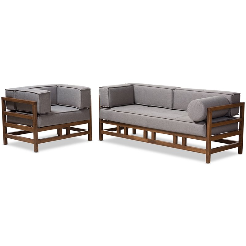 Baxton Studio Shaw 2 Piece Sofa Set in Gray and Dark Walnut