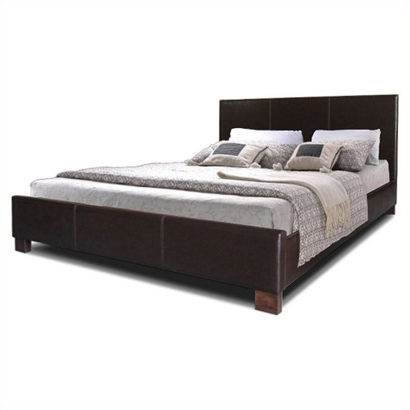 Pless Platform Bed in Dark Brown-Full