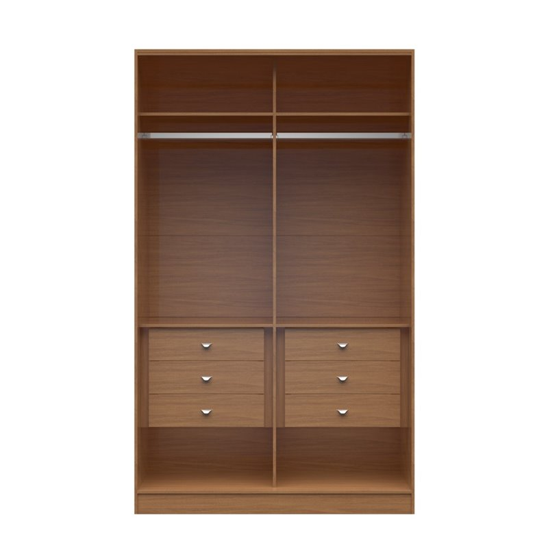 Manhattan Comfort Chelsea 6 Drawer His and Hers Wardrobe in Maple