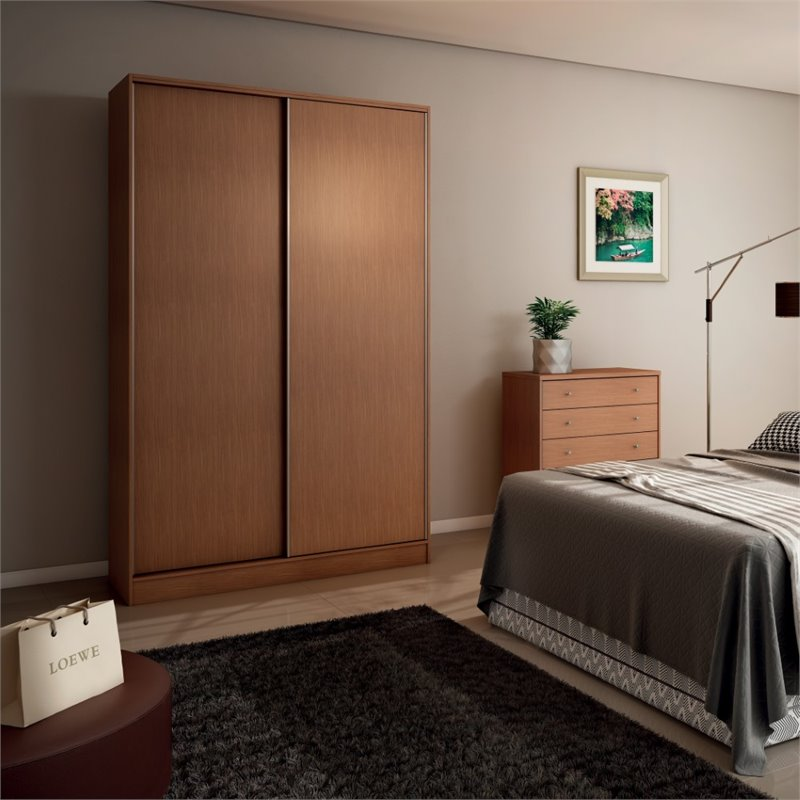 Manhattan Comfort Chelsea 54 Double Basic Wardrobe in Maple Cream
