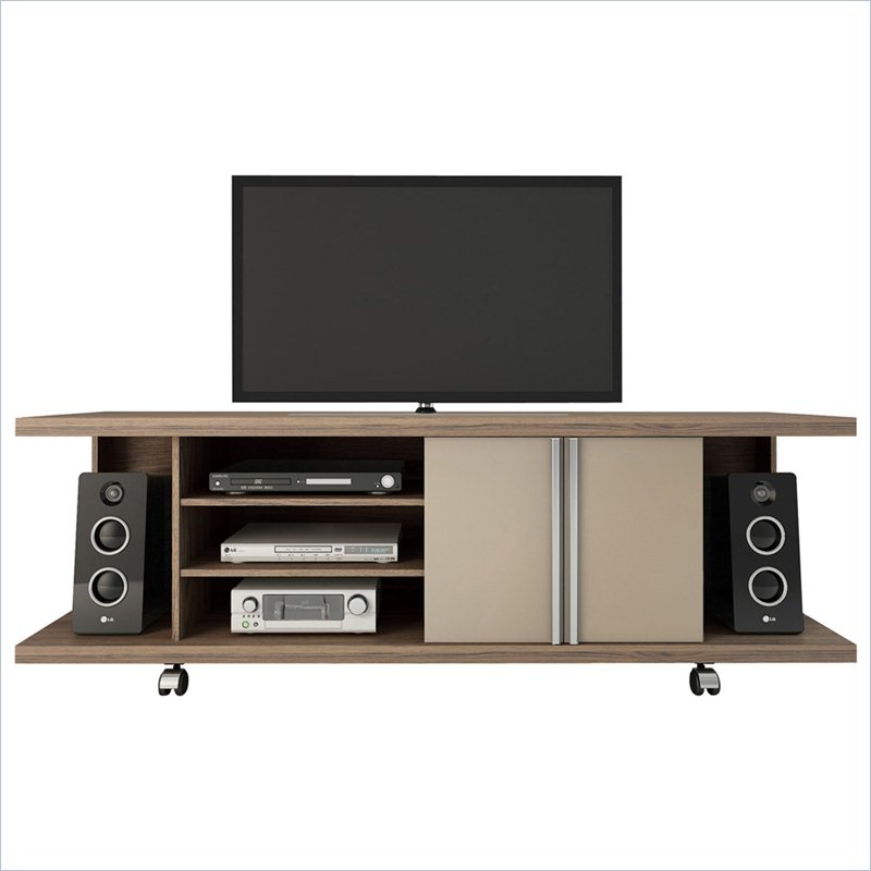 Manhattan Comfort Carnegie TV Stand in Chocolate and Nude