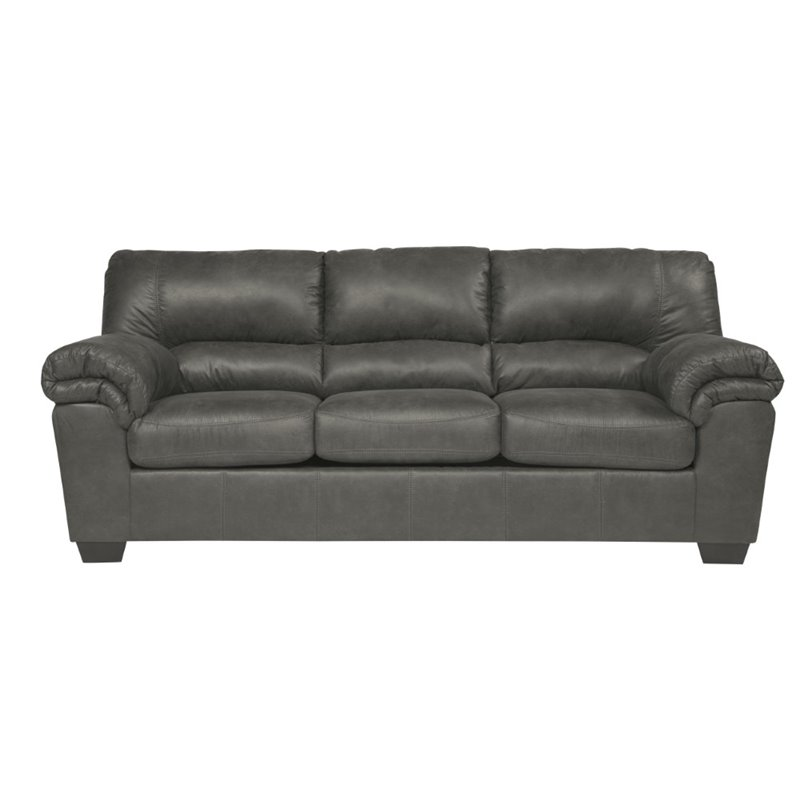 Ashley Bladen Faux Leather Sofa in Slate
