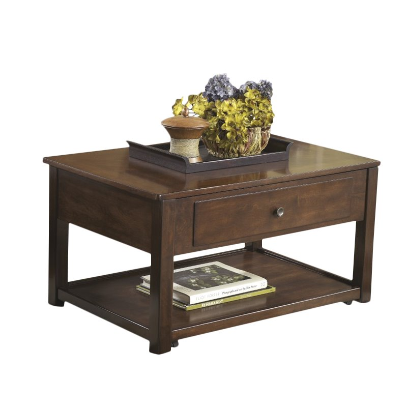 Ashley Marion Lift Top Coffee Table in Dark Brown