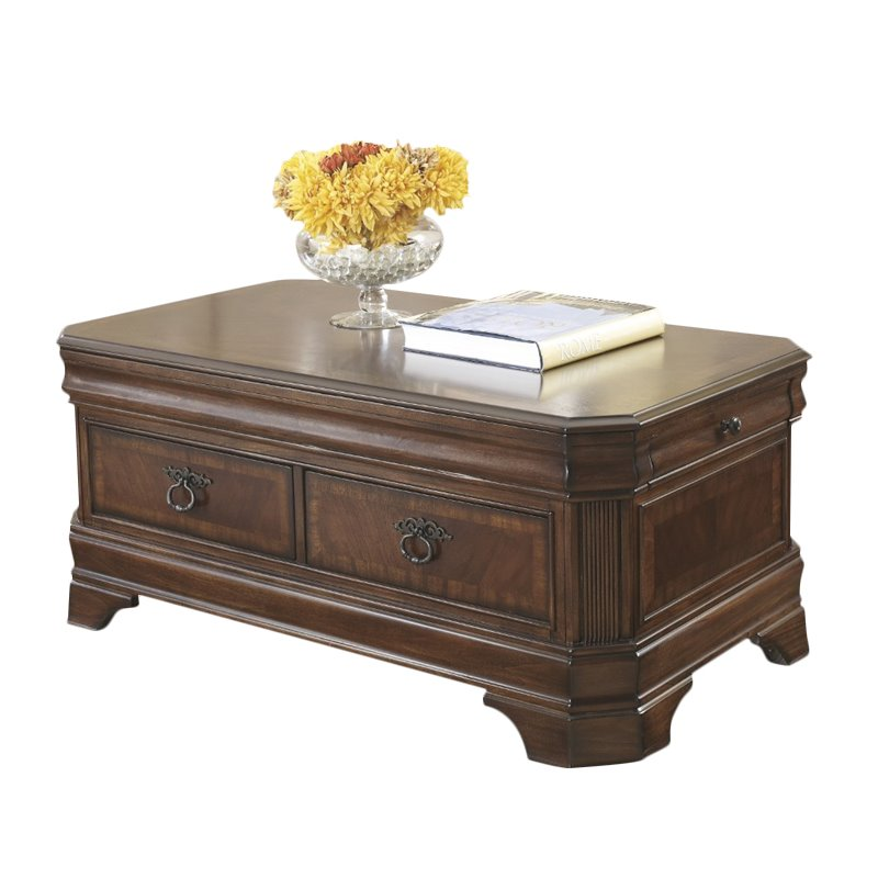 Ashley Hamlyn Lift Top Coffee Table in Medium Brown
