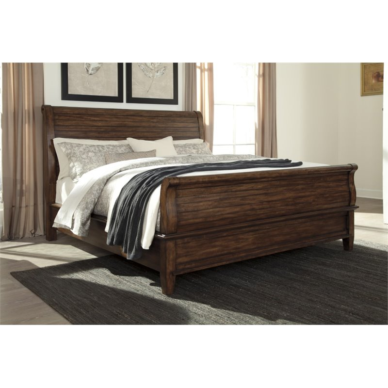 Ashley Chaddinfield California King Sleigh Bed in Brown