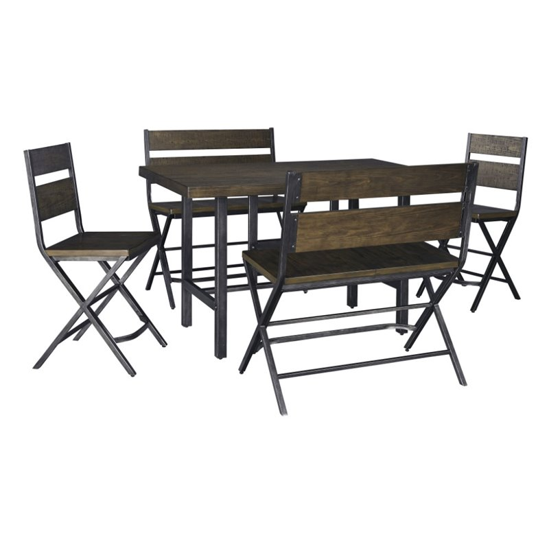 Ashley Kavara 5 Piece Counter Height Dining Set in Medium Brown