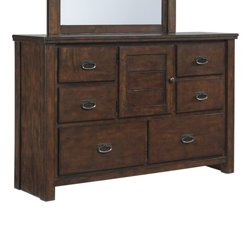 Ashley Ladiville 6 Drawer Wood Double Dresser in Rustic Brown