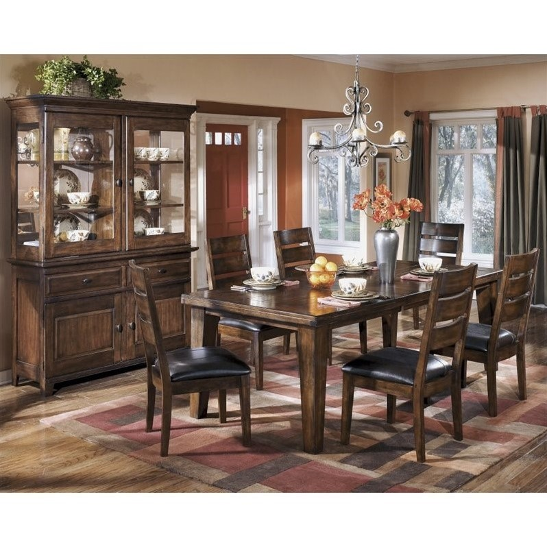 Ashley Larchmont 8 Piece Wood Dining Set in Brown