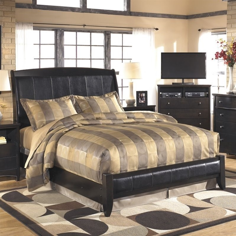 Ashley Harmony Upholstered King Sleigh Bed in Dark Brown