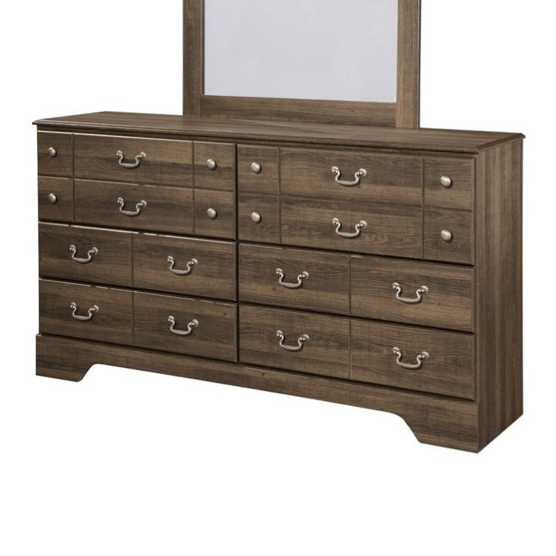 Ashley Allymore 6 Drawer Wood Double Dresser in Brown