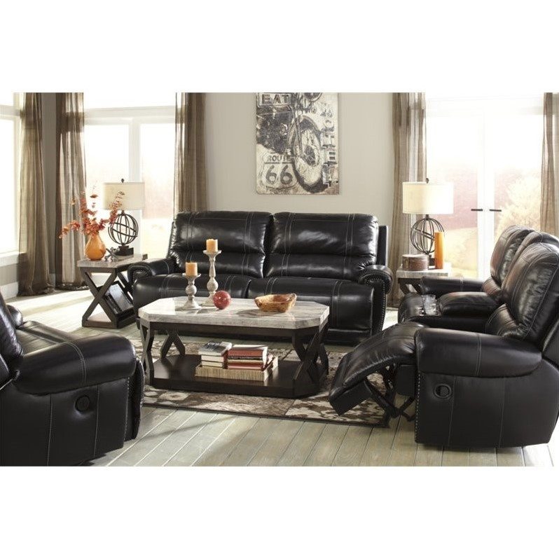 Ashley Paron 3 Piece Leather Power Reclining Sofa Set in Antique