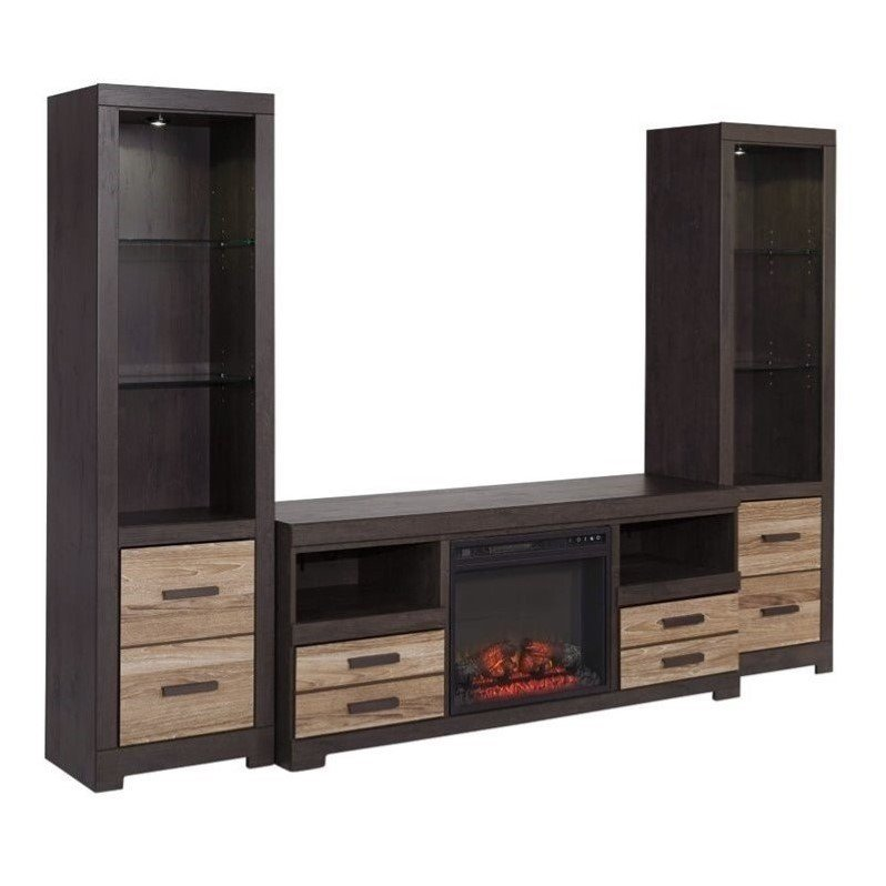 Ashley Harlinton LED Fireplace 63 TV Stand with Piers in Warm Gray