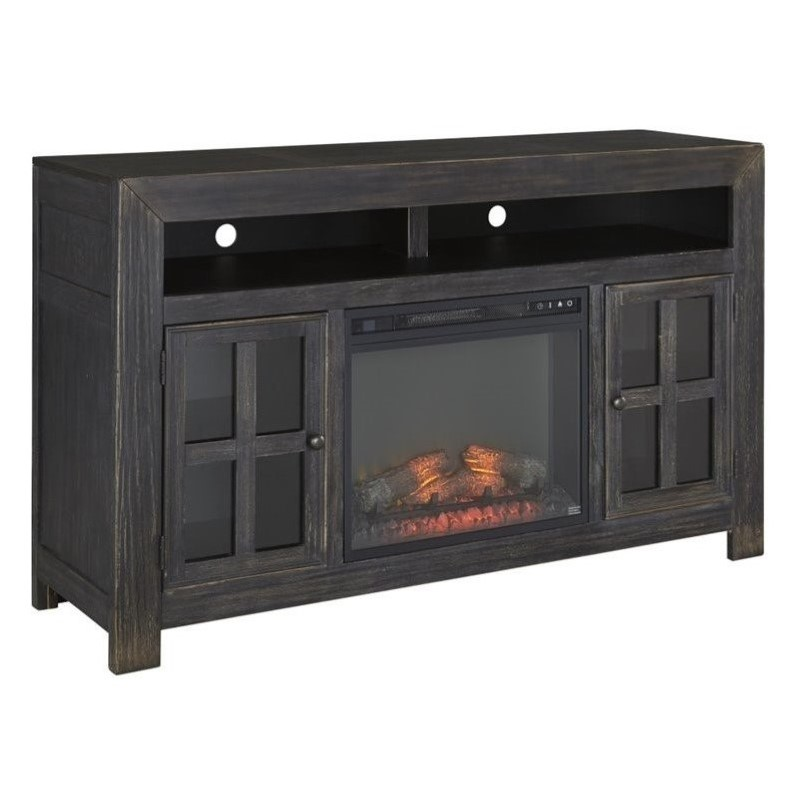 Ashley Gavelston 60 TV Stand with LED Fireplace in Weathered Black