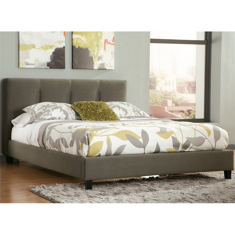 Ashley Masterson Tufted Upholstered Queen Panel Bed in Gray
