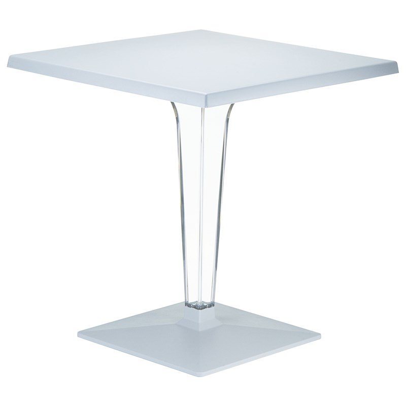 Compamia Ice 28 Square Werzalit Top Patio Dining Table in Silver