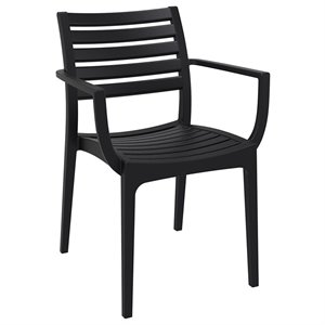 Compamia Artemis Outdoor Patio Dining Arm Chair in Black