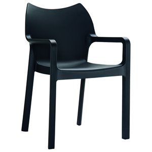 Compamia Diva Resin Outdoor Patio Dining Arm Chair in Black