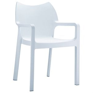 Compamia Diva Resin Outdoor Patio Dining Arm Chair in White