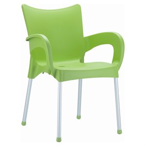 Compamia Romeo Resin Patio Dining Arm Chair in Apple Green