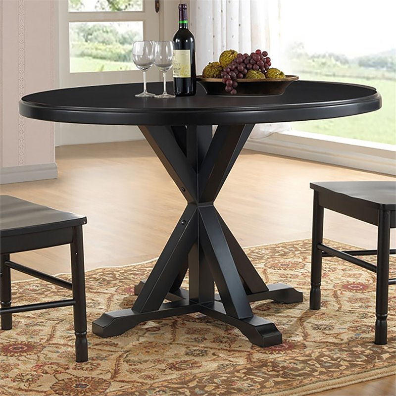 Carolina Classics Eila X Base Dining Table in Antique Black
