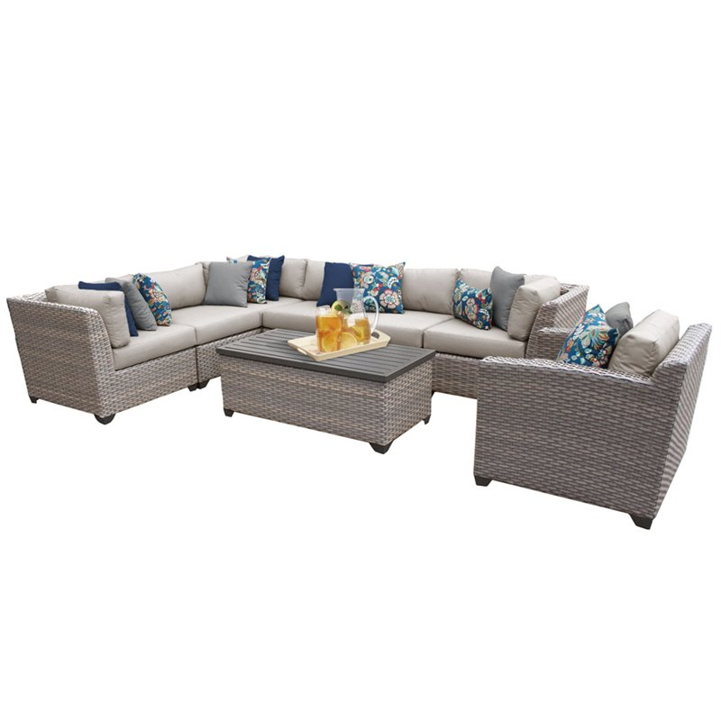 TKC Florence 8 Piece Patio Wicker Sofa Set in Beige