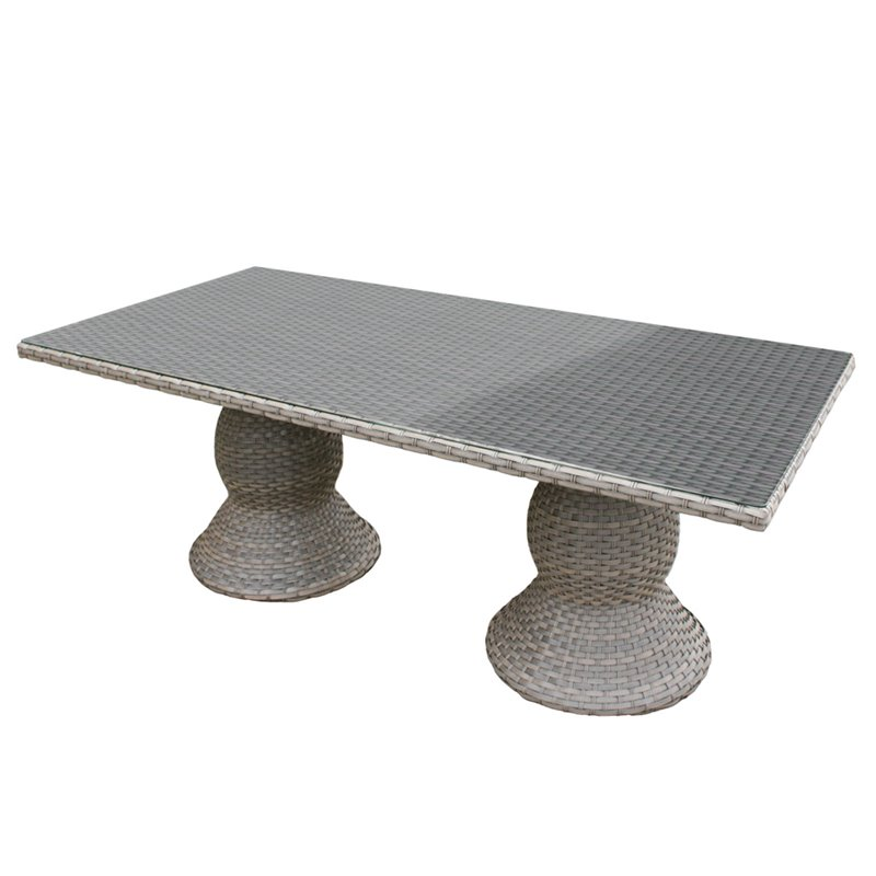 TKC Oasis 80 x 40 Glass Top Patio Dining Table in Gray Stone