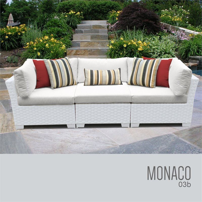 TKC Monaco 3 Piece Patio Wicker Sofa
