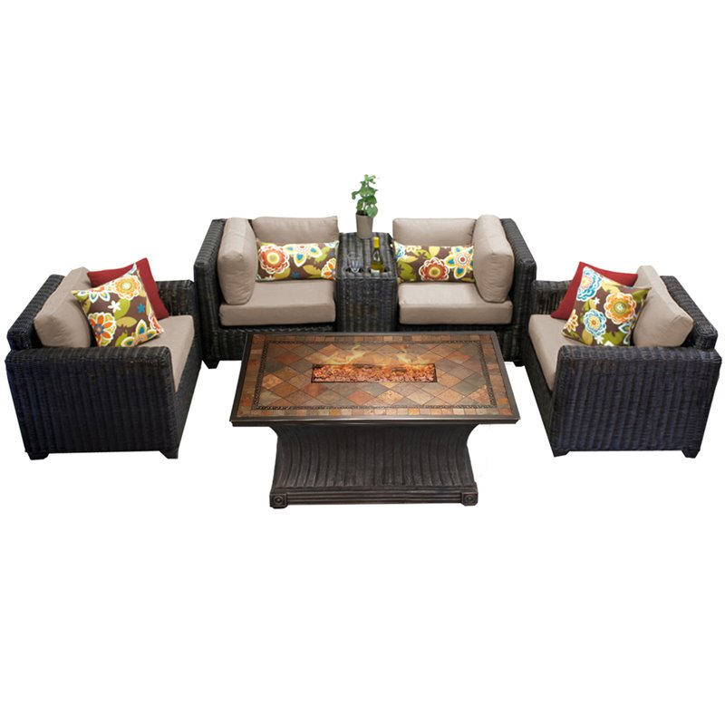 TKC Venice 6 Piece Patio Wicker Fire Pit Sofa Set