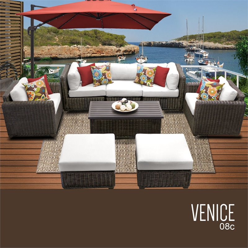 TKC Venice 8 Piece Patio Wicker Sofa Set in White