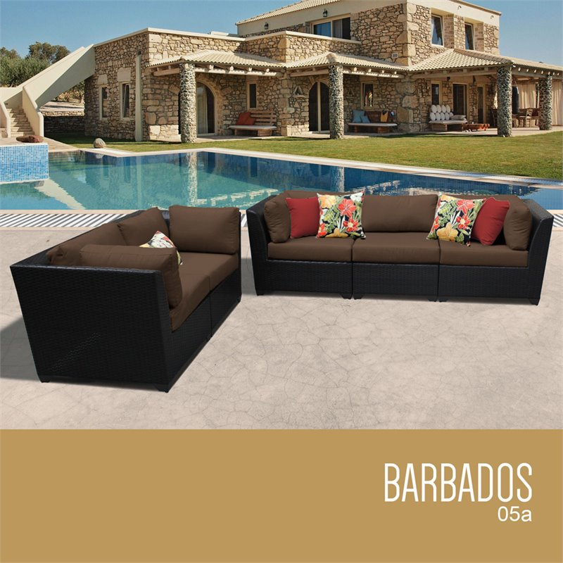 TKC Barbados 5 Piece Patio Wicker Sofa Set in Brown