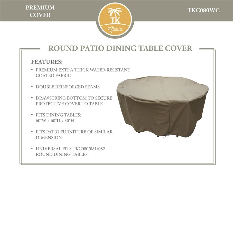 TKC 60 Round Patio Dining Table Cover in Beige