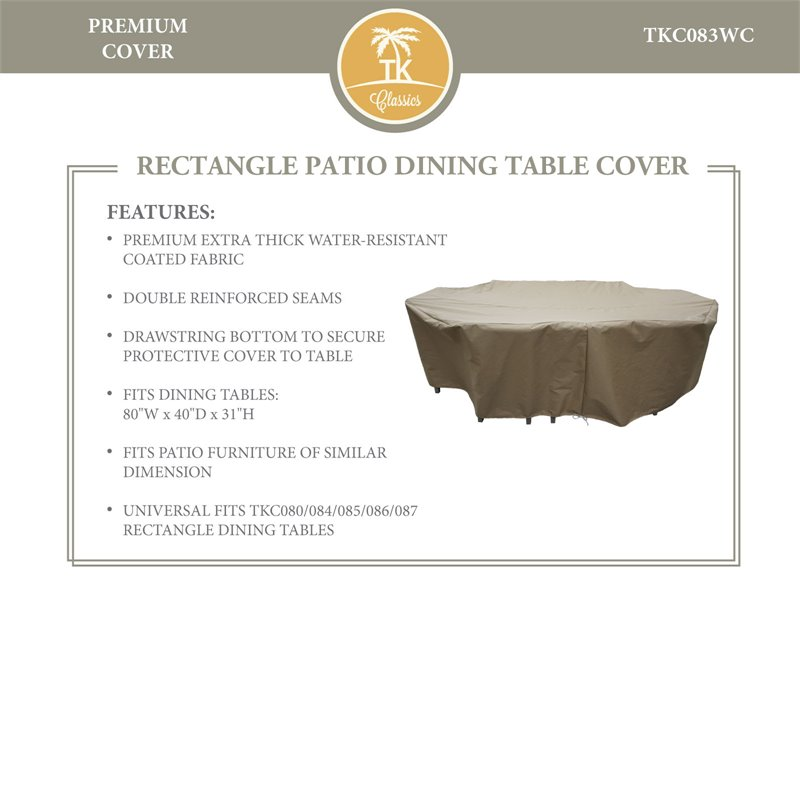 TKC Rectangle Patio Dining Table Cover in Beige