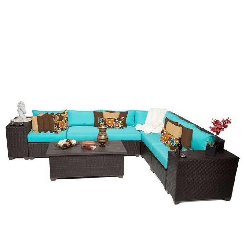 TKC Barbados 9 Piece Outdoor Wicker Sofa Set in Aruba