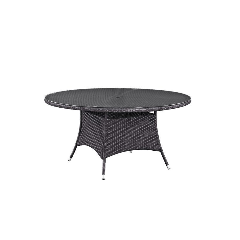 Modway Convene 59 Round Glass Top Patio Dining Table in Espresso