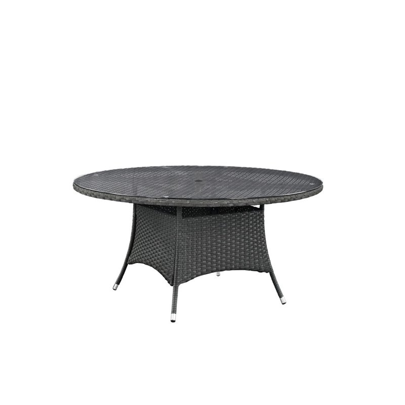 Modway Sojourn 59 Round Glass Top Patio Dining Table in Chocolate