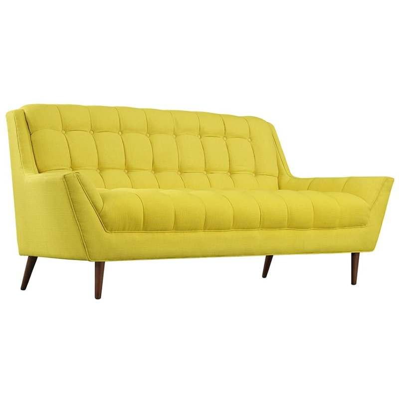 Modway Response Fabric Loveseat in Sunny