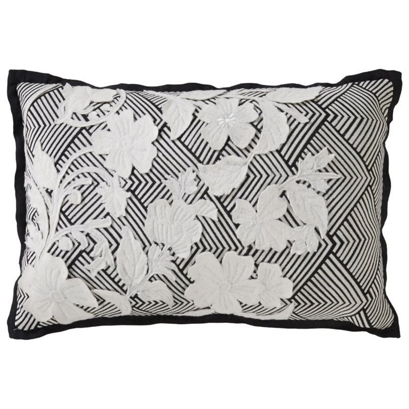 Jaipur Rugs Cosmic By Nikki Chu 24 Cotton Pillow in Black and Ivory