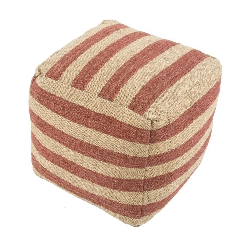 Jaipur Rugs Mason Wool Cube Pouf in Red and Ivory
