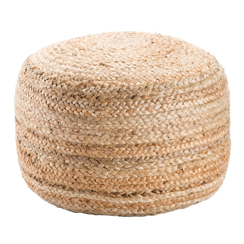 Jaipur Rugs Saba Jute Cylinder Pouf in Taupe and Tan
