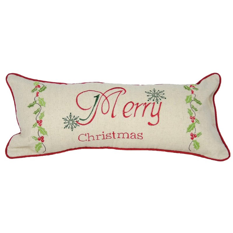 Xia Home Fashions 8 x 18 Christmas Holly Decorative Pillow