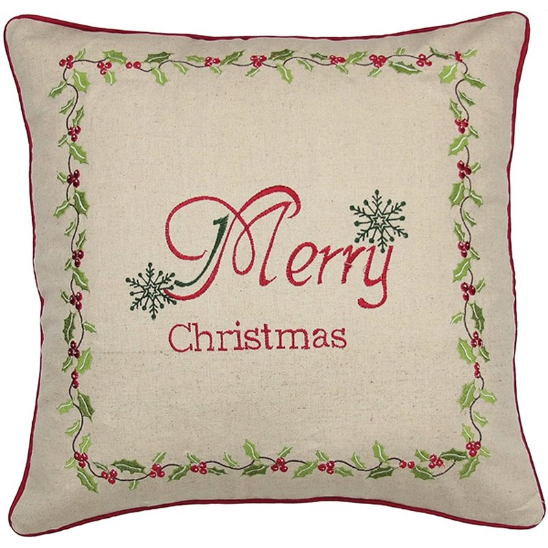 Xia Home Fashions 18 x 18 Christmas Holly Decorative Pillow