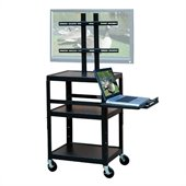 VTI Adjustable Cart for up to 32 Flat Panel TV w/ Pull Out Shelf