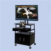 VTI Wide Body 52 Flat Panel TV Cart with Front/Back Cabinet and Drawer