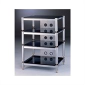 VTI Four Shelf Silver Audio Stand with Black Glass