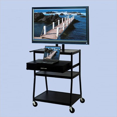 VTI Wide Body 42&quot; Flat Panel TV Cart with Front/Back Drawer