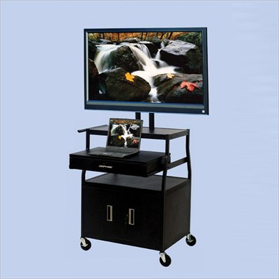 VTI Wide Body 52&quot; Flat Panel TV Cart with Front/Back Cabinet and Drawer